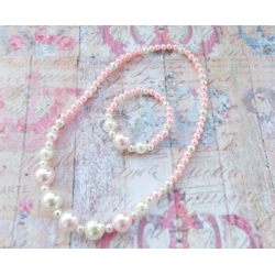 Baby set Pink & white big pearls