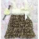 """φορεμα """"Cream & Leopard"""" με κορδελα"""