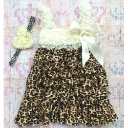 Baby Cream and Leopard lace dress with headband
