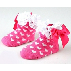 Baby girl socks fuchsia with hearts