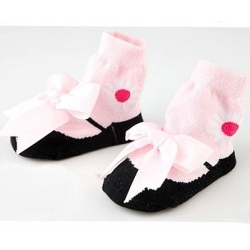 Baby girl socks pink satin bow