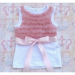 White Cotton With Dust Pink Ruffle Tank Top