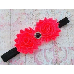 Baby girl headband Neon roses & black