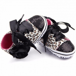 Baby girl shoes Black bling leopard