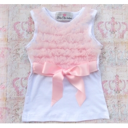 White Cotton With Light Pink Ruffle Tank Top