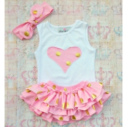 Baby set Gold dots baby pink