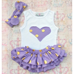 Baby girl set Gold dots lavender
