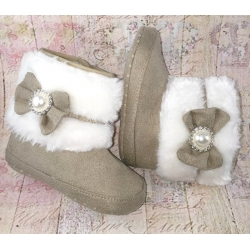 Baby girl boots diamante bow ecru