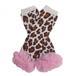 Baby leg warmers Leopard with baby pink