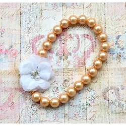 Baby necklace vintage pearls white flower