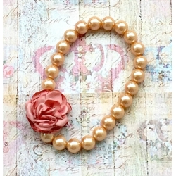 Baby necklace Vintage pearls dusty pink flower