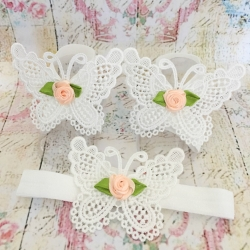 Baby girl barefoot sandals White butterfly with peach rose