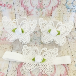 Baby girl barefoot sandals White butterfly with white rose