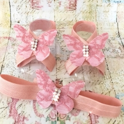 Baby girl barefoot sandals set Dusty pink lace