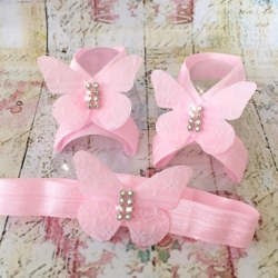 Baby girl barefoot sandals set Pink lace