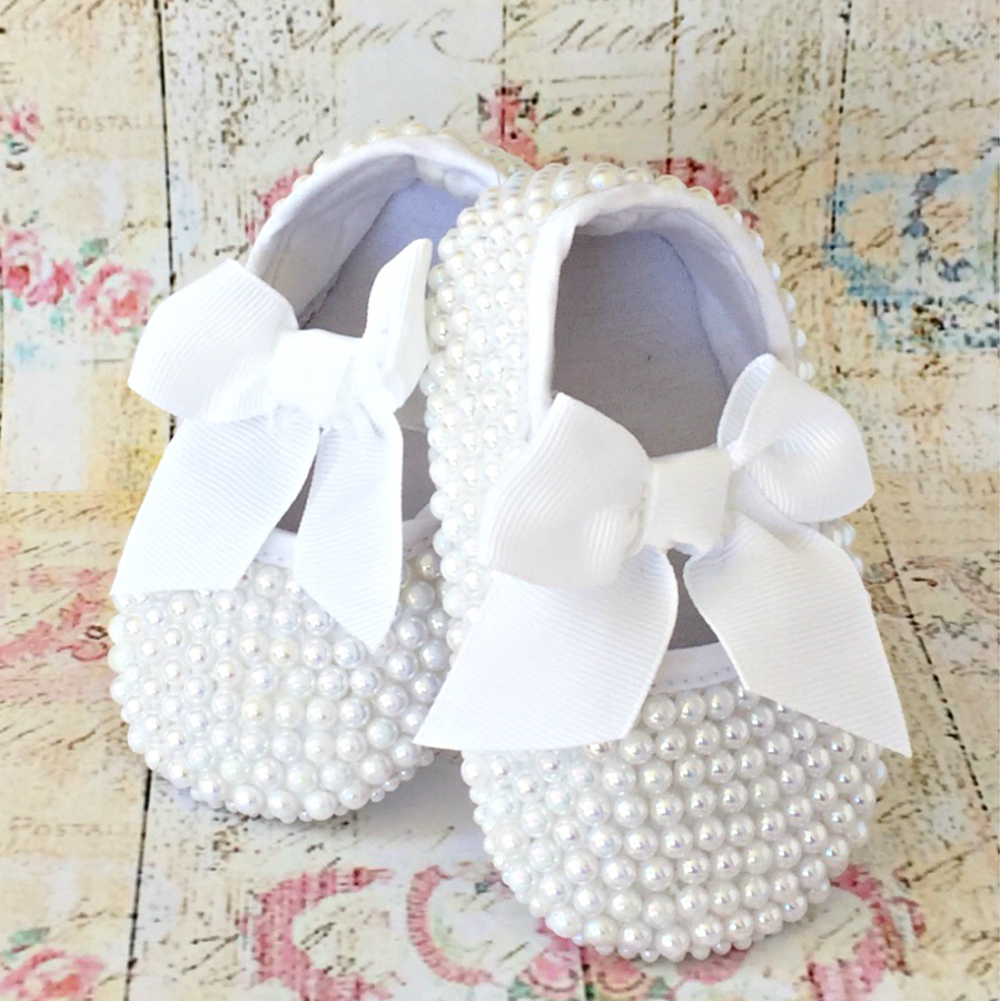dde982acb4919 baby girl christening shoes with white pearls uk