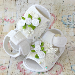 Baby Girl Christening Sandals White Roses