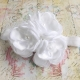 Baby christening headband White Satin and organza bouquet