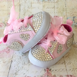 Baby girl pink shoes Bling heart