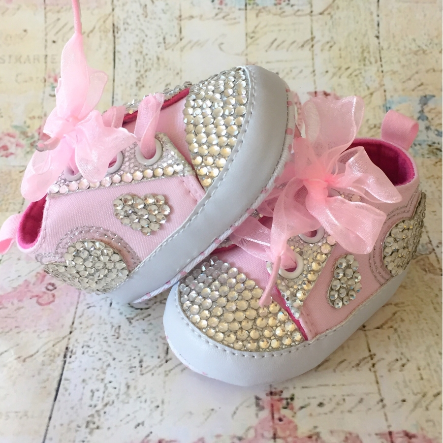 88fac5526416b Baby girl shoes with swarovski crystals