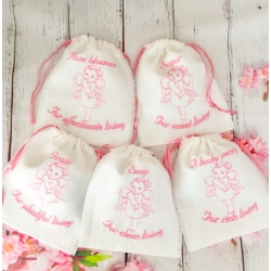 Linen bags for symbolic gifts pink angel