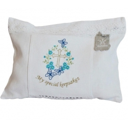 Linen bag for a special keepsakes blue