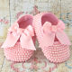 Baby girl christening shoes Pink pearls