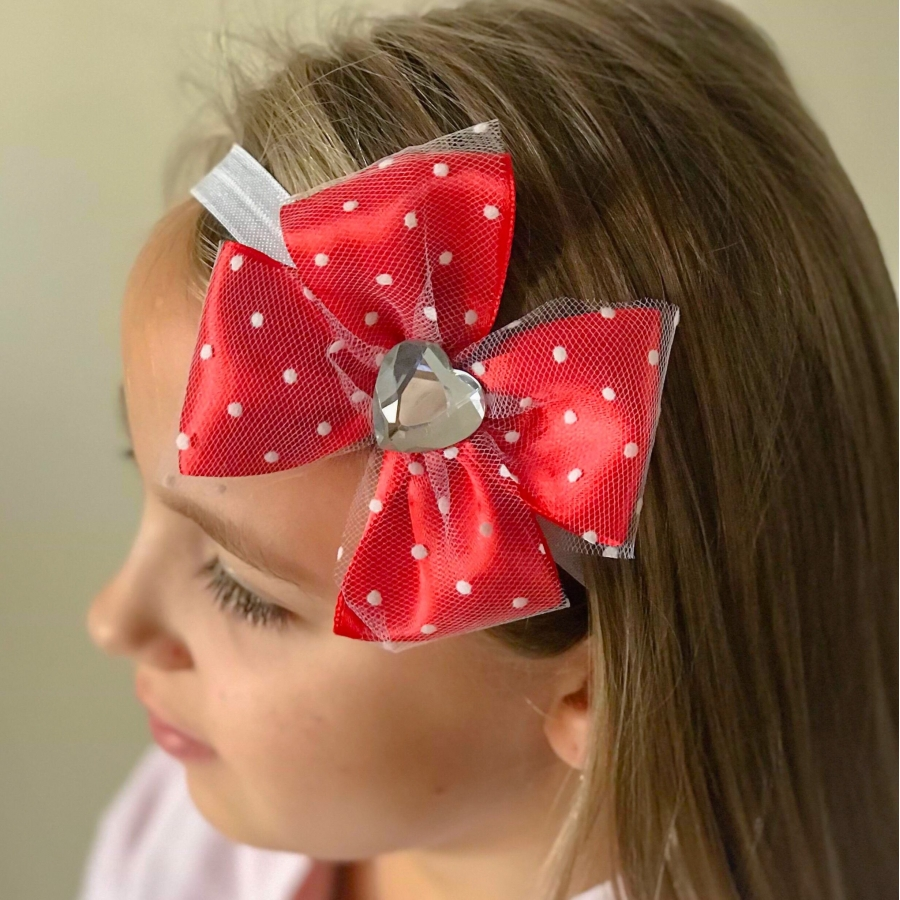 Christmas Headband For Baby Girl.Baby Girl Christmas Headband Red Bow With White Dotted Tulle