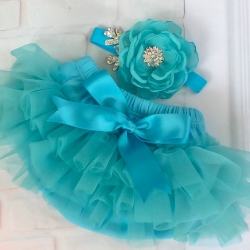 Baby girl tutu bloomer Aquamarine with headband