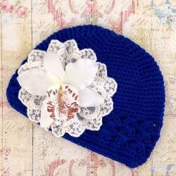 Baby girl blue beanie hat with orchidea