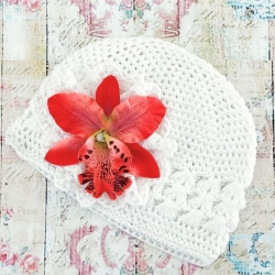 Baby girl beanie hat with watermelon orchidea