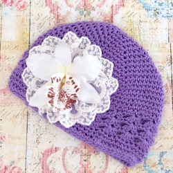 Baby girl lavender beanie hat with orchidea