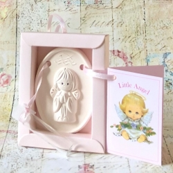 Christening guardian angel gift pink