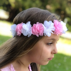 Flower Crown Headband ,,White and Pink''