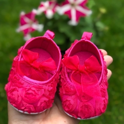 Baby christening shoes Watermelon rosette