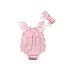 baby girl cotton romper Pink with lace