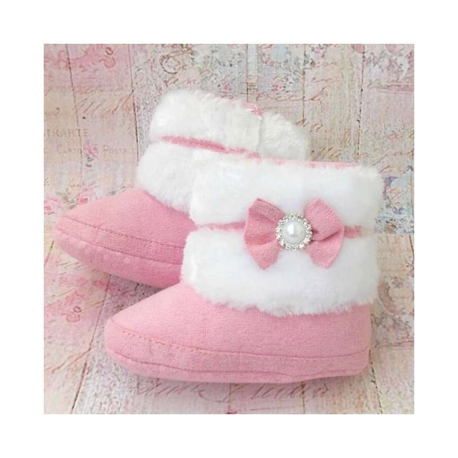 Baby girl boots diamante bow pink