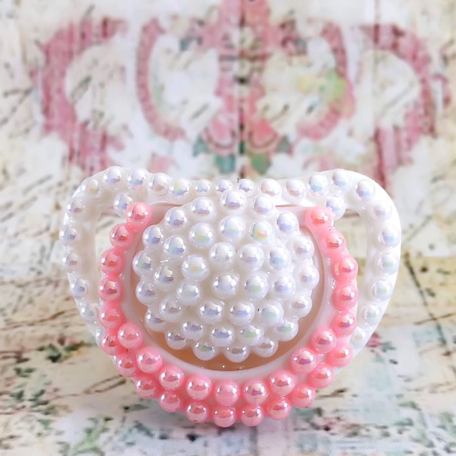 Baby Pacifier Nuk pink and white pearls
