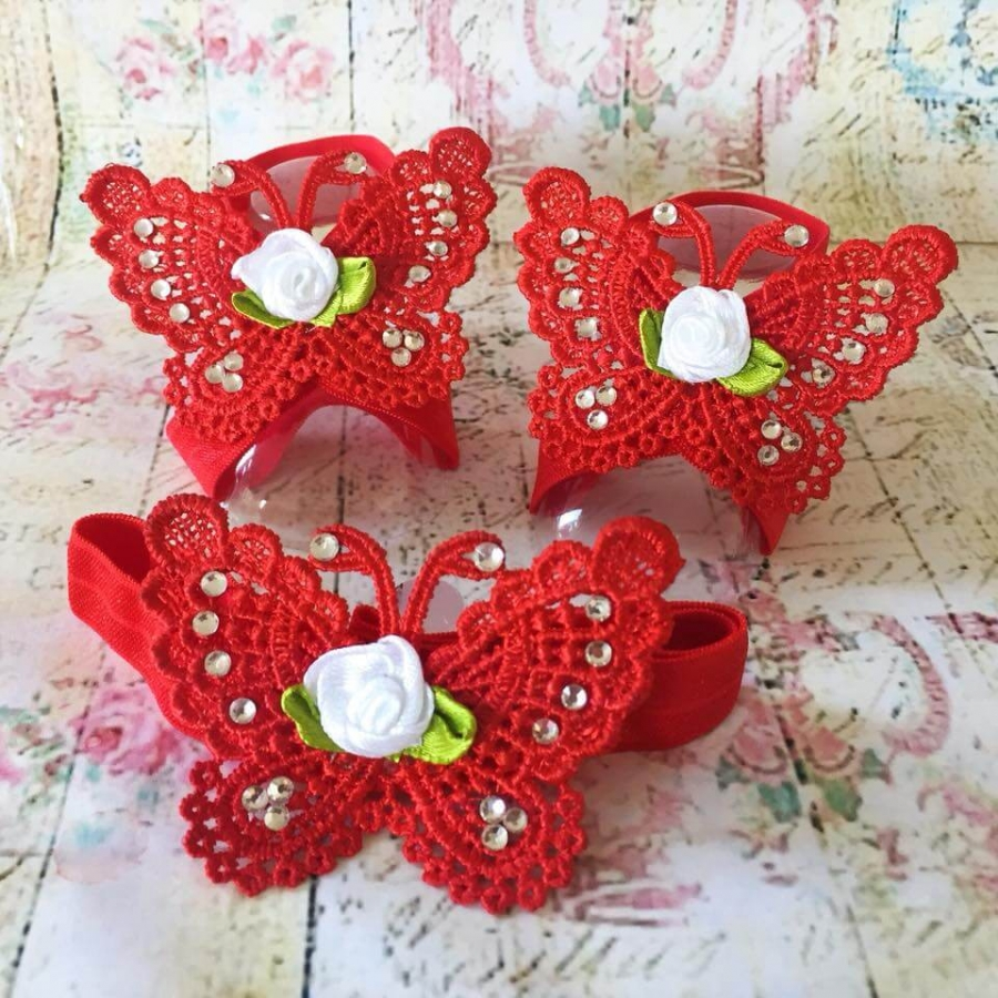 Baby girl barefoot sandals set Red butterfly