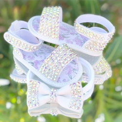 Baby girl christening sandals with crystals