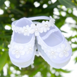 Baby girl christening shoes Pearl flowers