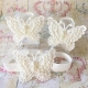 Baby girl barefoot sandals ivory white pearls butterfly