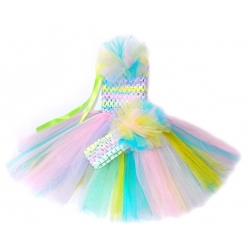 Baby girl tulle dress Rainbow with headband