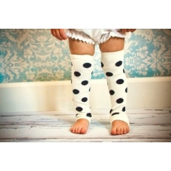 Baby leg warmers white with black dots