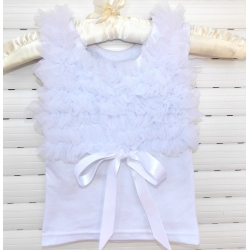 white with white chiffon ruffles