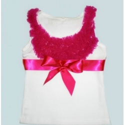 White Cotton With Fuchsia Ruffle Tank Top