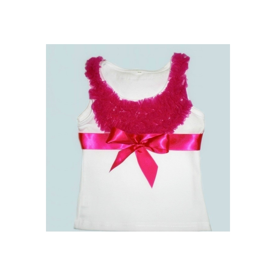 Μπλουζάκι white with fuchsia chiffon ruffles