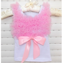 White Cotton With Pink Ruffle Tank Top