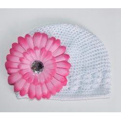 Crochet hat white with pink flower