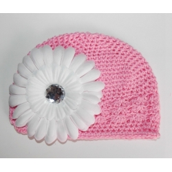 Crochet hat pink with white flower